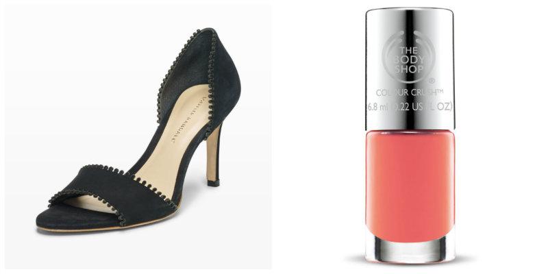 Un zapato de tacón negro ideal para una fiesta necesitará algo de color. ¿Cómo lograrlo? Con un tono de moda como el coral.