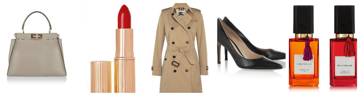 Un bolso clásco de buena calidad, un labial clásico, una gabardina de abrigo, unos zapatos de tacón que te sean cómodos y una fragancia que te distinga.