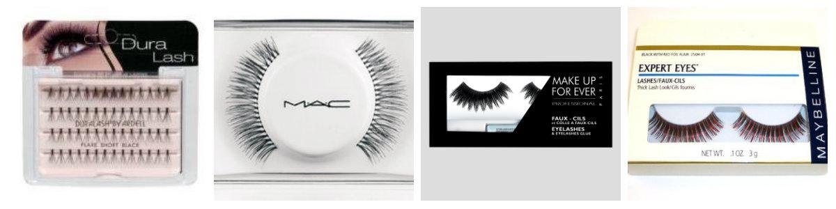 De izquierda a derecha: Ardell, MAC, Make up Forever y Maybelline.