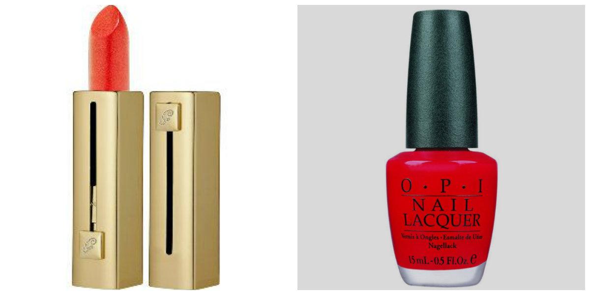 Guerlain Rouge Automatique Coque D'Or 120 combinado con Big Red Apple de OPI.  Ideal para todo tipo de pieles.