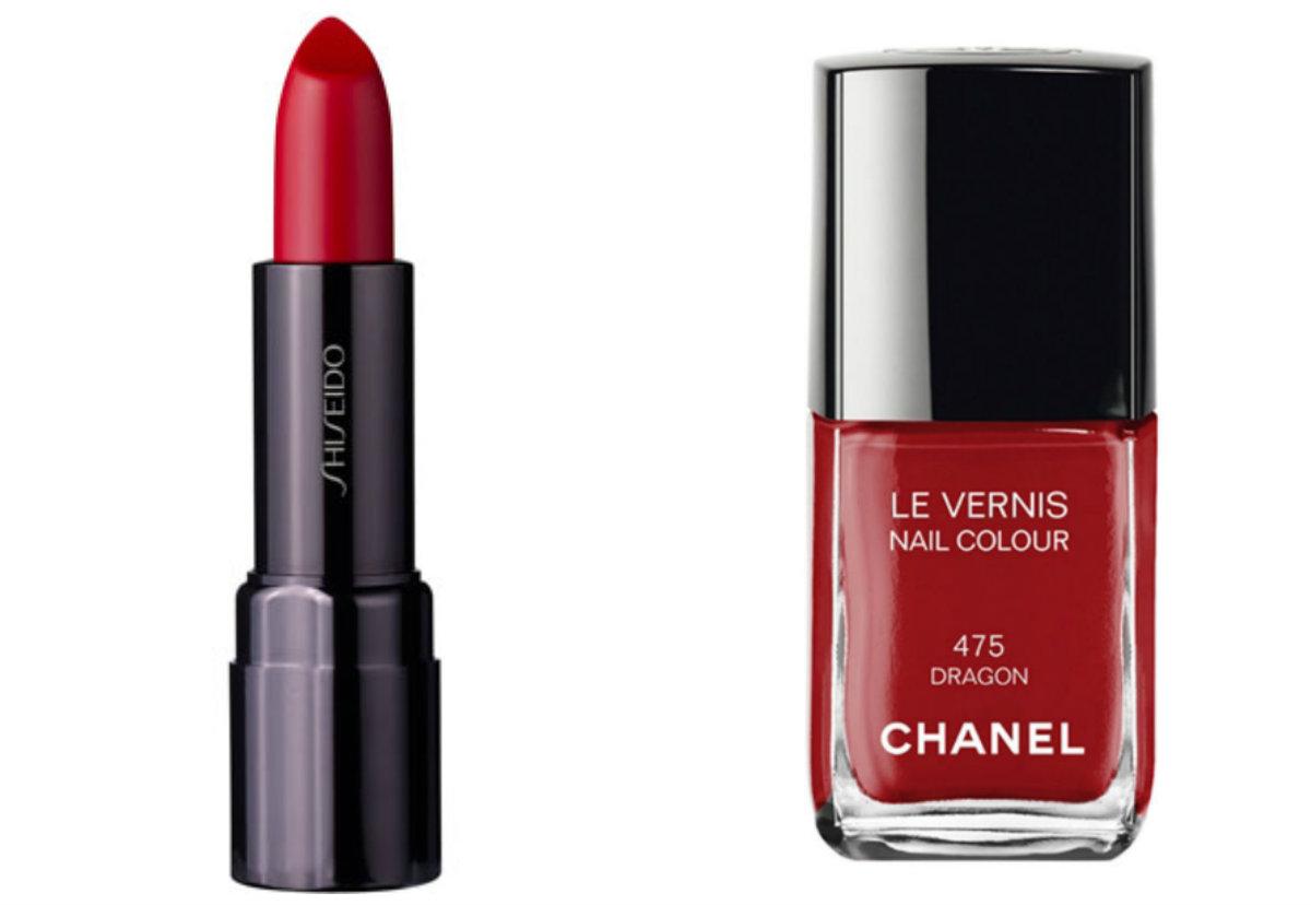 Shiseido Perfect Rouge RD415 Valentine con el esmalte Dragon de Chanel.  Perfecto para los tonos de piel más oscuros.