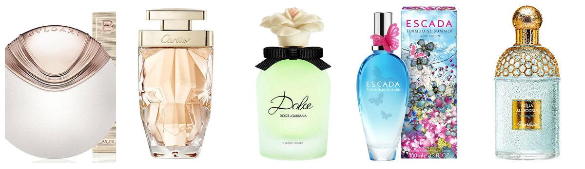 Bulgari Aqva Divina (floral); Cartier La Panthère Eau de Parfum Légère (floral); Dolce Floral Drops (floral); Escada Turquoise Summer (dulce); Aqua Allegoria Teazzura (cítrico)