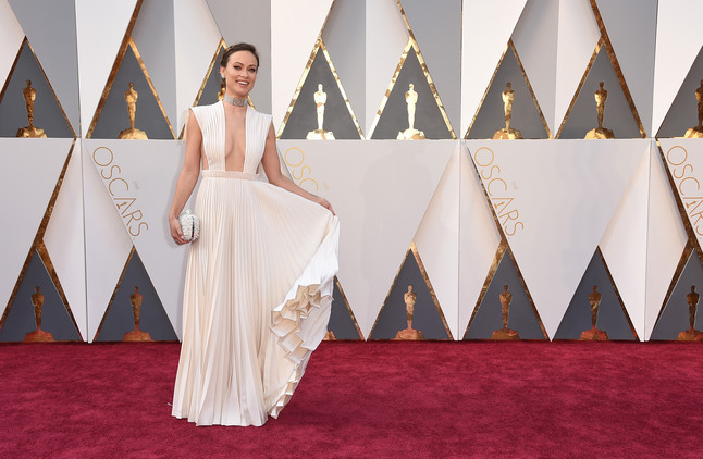 Olivia Wilde arrives at the Oscars on Sunday, Feb. 28, 2016, at the Dolby Theatre in Los Angeles. (Photo by Jordan Strauss/Invision/AP)