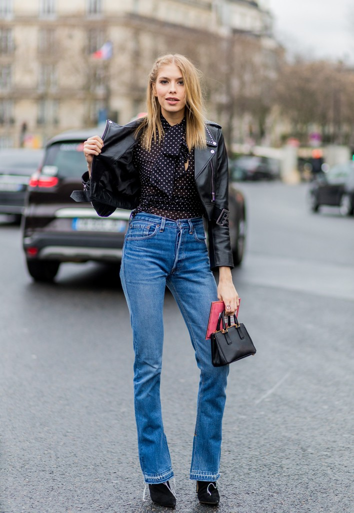 PARIS, FRANCE - March 9: Elena Perminova wearing a black leather jacket and blue denim jeans outside Miu Miu during the Paris Fashion Week Womenswear Fall/Winter 2016/2017 on March 9, 2016 in Paris, France. (Photo by Christian Vierig/Getty Images)