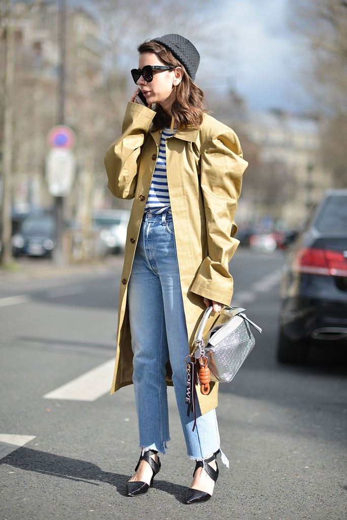 PARIS, FRANCE - MARCH 03: Natasha Goldenberg poses wearing Vetements pants and Loewe bag after the Paco Rabanne show at the Musee d'art Moderne during Paris Fashion Week FW 16/17 on March 3, 2016 in Paris, France. (Photo by Vanni Bassetti/Getty Images)
