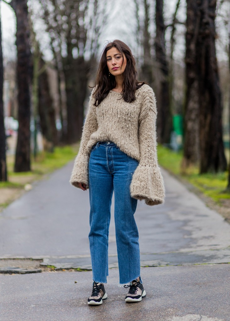 PARIS, FRANCE - March 9: Sylvia Haghjoo is wearing a cashmere sweater from Lisbeth, Vetements jeans, Geox sneaker outside Moncler Gamme Rouge during the Paris Fashion Week Womenswear Fall/Winter 2016/2017 on March 9, 2016 in Paris, France. (Photo by Christian Vierig/Getty Images)