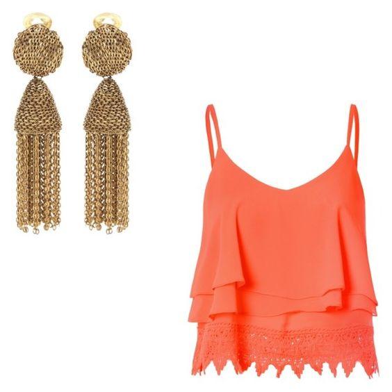 Blusa de tirantes finos en coral (Glamorous) Pendientes en bronce de pequeñas cadenitas (Oscar de la Renta)