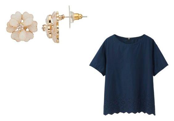 Blusa de manga corta en azul con detalle de broderie (UNIQLO) Pendientes con forma de flor (Kohls)