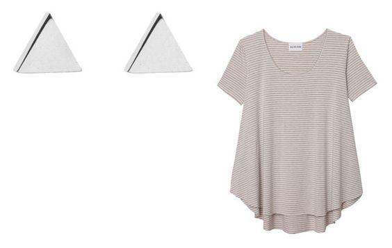 Camiseta de manga corta oversize a rayas (Olive + Oak) Pendientes en forma de triángulo de acero (Jennifer Meyer)