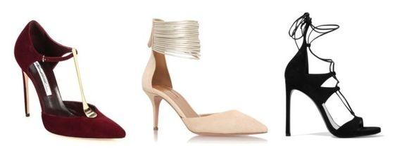 De izquierda a derecha: Brian Atwood Celeste Elaphe; Aquazzura Hello Lover D'Orsay; Stuart Weitzman Legwrap Lace-up sandals.