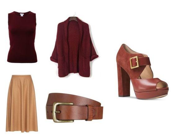 Cinturón Backcountry; camiseta Oscar de la Renta; falda Max Mara; cardigan Choies; zapatos Michael Kors.
