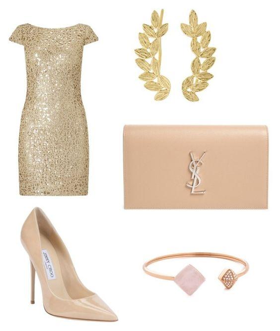 Vestido Adrianna Papell; pendientes Eddera; zapatos Jimmy Choo; clutch Saint Laurent; brazalete Michael Kors.