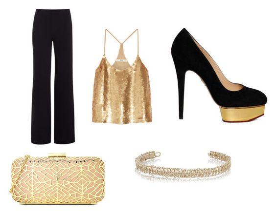 Pantalón Alexander Wang; blusa Tibi; zapatos Charlotte Olympia; clutch Moschino; choker Maison Margiela.