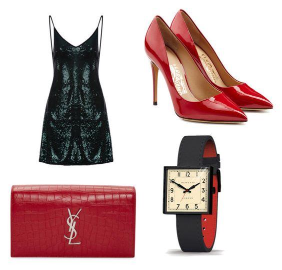 Vestido; zapatos Salvatore Ferragamo; clutch Saint Laurent; reloj Newgate.
