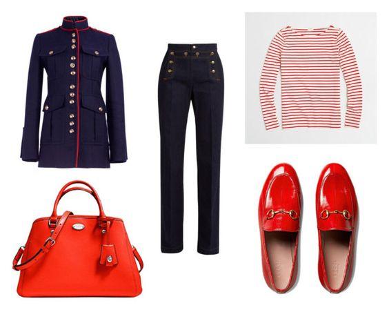 Abrigo Burberry; bolso Margot Carrya; vaquero Valentino; camiseta J. Crew; mocasines Gucci.