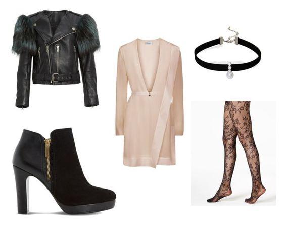 Chaqueta Marc Jacobs; botines Dune Oscar; vestido La Perla; choker Loren Olivia; medias DKNY.