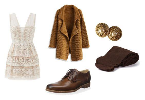 Vestido Max Azria; cardigan Chicwish; oxford Frye; pendientes Edouard Rambaud; medias Biba Vintage.