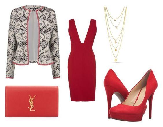 Chaqueta Boohoo; clutch Saint Laurent; vestido Alice + Olivia; collar Whatsyourchic; zapatos Jessica Simpson.