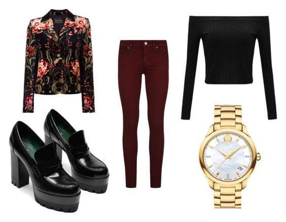 Chaqueta Roberto Cavalli; zapatos Mulberry; pantalón Paige; camiseta Withchic; reloj Movado Bellina.