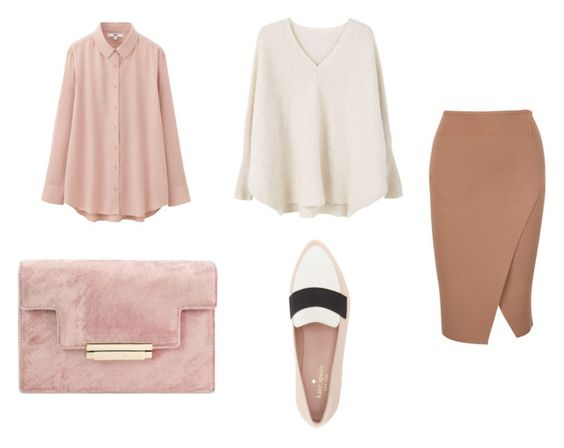 Blusa UNIQLO; sweater Mango; clutch Aerin; mocasines Kate Spade; falda Kendall Kylie