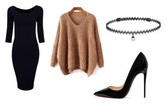 Vestido Zaful; sweater SheIn; choker Berricle; zapatos Christian Louboutin.