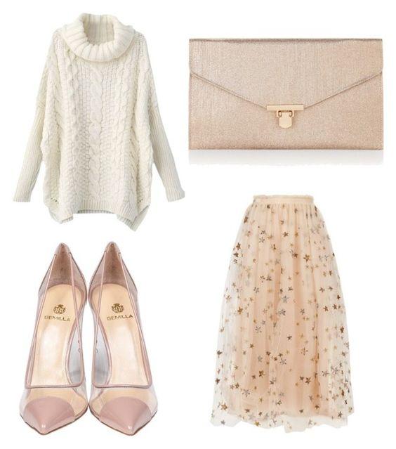 Sweater SheIn; zapatos Semilla; clutch Accesorize; falda Valentino.