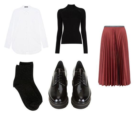 Camisa Steffen Schraut; sweater Misha Nonoo; falda Leur Logette; calcetines Erika Cavallini; mocasines Stuart Weitzman.