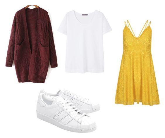 Cardigan Withchic; camiseta Mango; vestido Yoins; zapatillas Adidas.