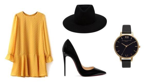 Vestido Zaful; fedora Rag & Bone; zapatos Christian Louboutin; reloj Olivia Burton.