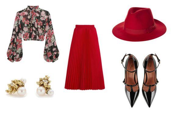 Blusa Jill Stuart; pendientes Ruth Tomilson; falda Balenciaga; fedora Brixton; zapatos Valentino.