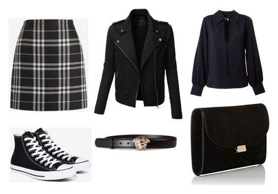 Falda J. Crew; zapatillas Converse; chaqueta LE3NO; cinturón Versace; blusa See by Chloe; clutch Mansur Gavriel.