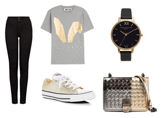 Vaquero J. Brand; camiseta Alexander McQueen, zapatillas Converse, reloj Olivia Burton; clutch Bottega Venetta.