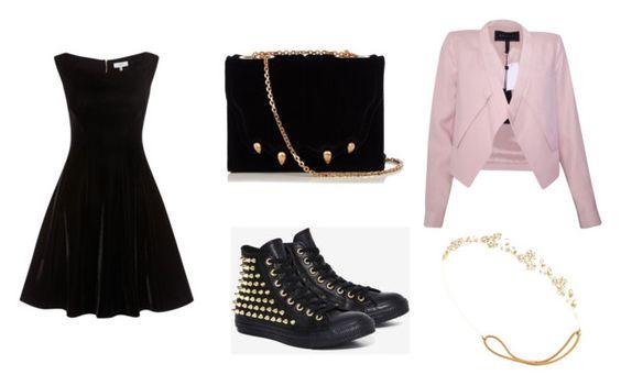 Vestido Kimberley; zapatillas Converse; bolso Marco De Vincenzo; chaqueta BCBG MaxAzria; diadema Jennifer Behr.