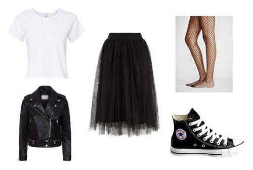 Camiseta Re/Done; chaqueta de cuero Sandro Vega; falda midi Newlook; medias, zapatillas Converse.