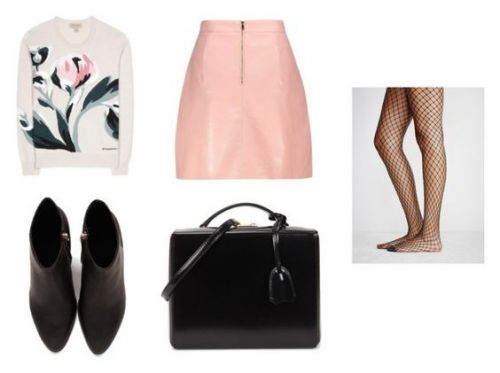 Sweater Burberry; botines Alexander Wang; minifalda Zaful; bolso Mark Cross.