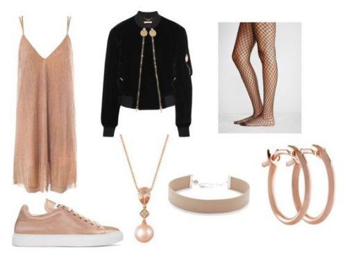 Vestido Sans Souci; zapatillas Jil Sander; chaqueta Givenchy; collar Le Vian; choker Jennifer Zeuner; pendientes Pori.