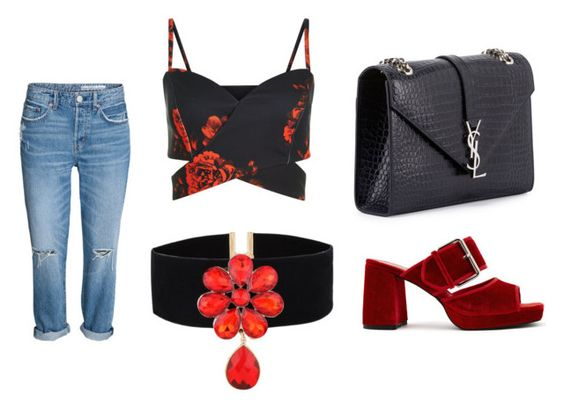 Jeans H&M; top Newlook; choker Zaful; bolso Saint Laurent, mules Finery London.