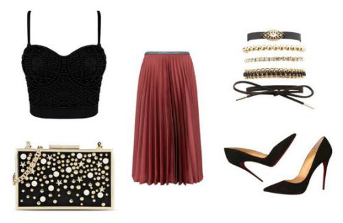Crop top Honey Couture; bolso Karl Lagerfeld; falda Leur Logette; pulseras Charlotte Russe; zapatos Christian Louboutin.