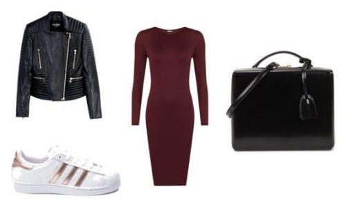 Chaqueta de cuero Balmain; zapatillas Adidas; vestido Juliet Long; bolso Mark Cross.