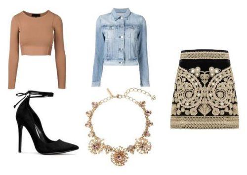Crop top Kendall-Kylie; zapatos ShoeDazzle; chaqueta de jena 3x1; collar Oscar de la Renta; falda For Love And Lemons.