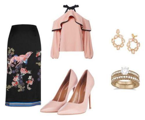 Falda River Island; blusa Alexis; zapatos Topshop; pendientes Tory Burch; anillo Allurez.