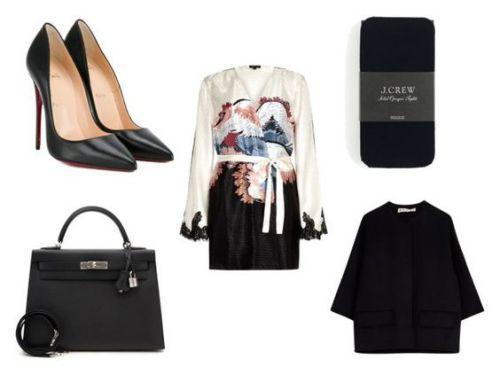 Zapatos Christian Louboutin; bolso Hermes; vestido River Island; medias J. Crew; abrigo Marni.