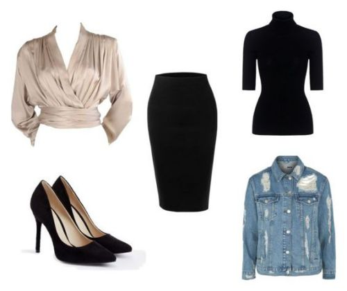 Blusa Yves Saint Laurent;. zapatos Justfab; falda LE3NO; camiseta Theory; chaqueta de jean Topshop.